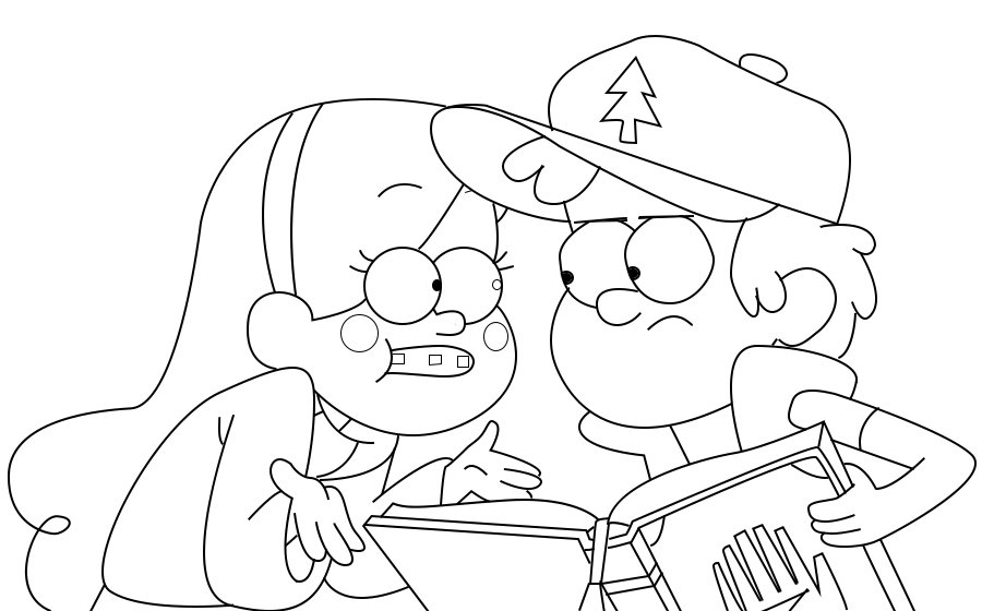 Раскраска Диппер и Мейбл 5