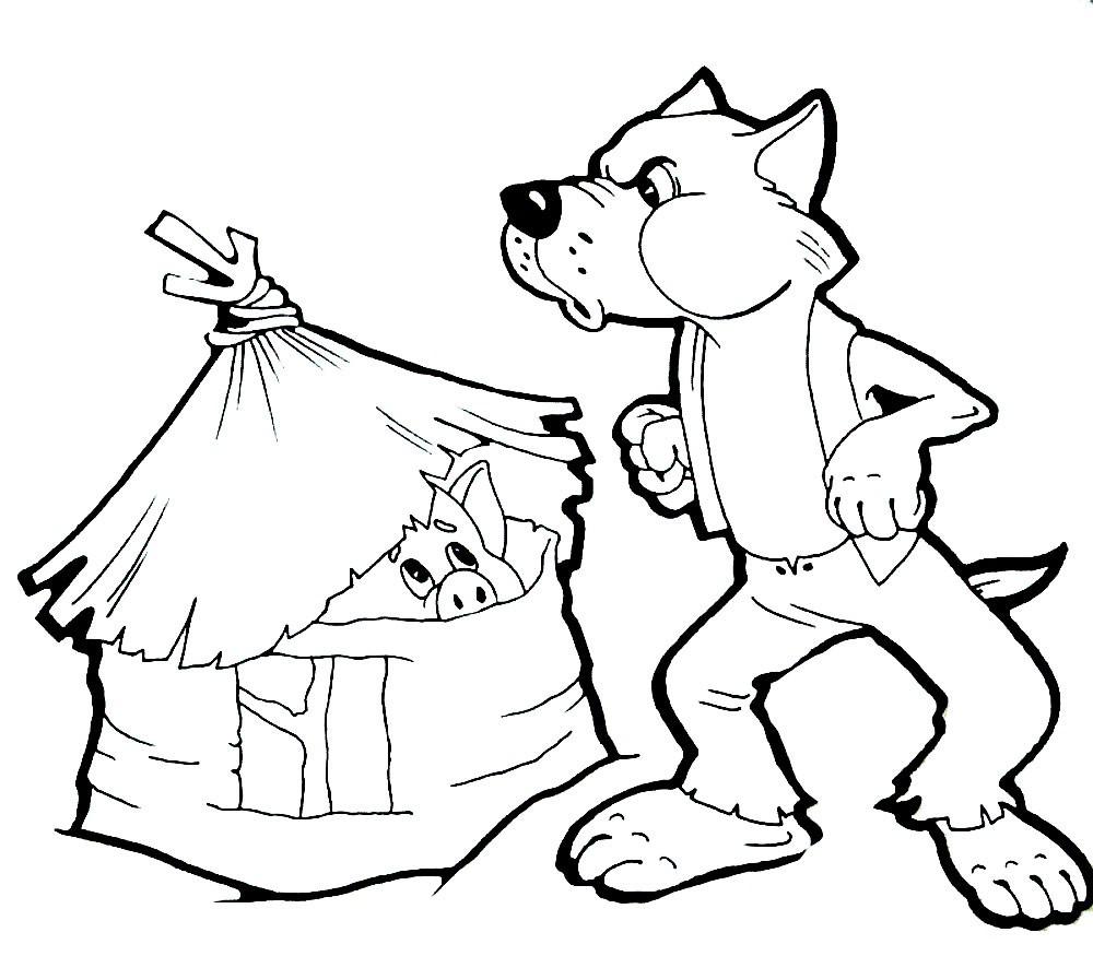 Раскраска волк и три поросёнка