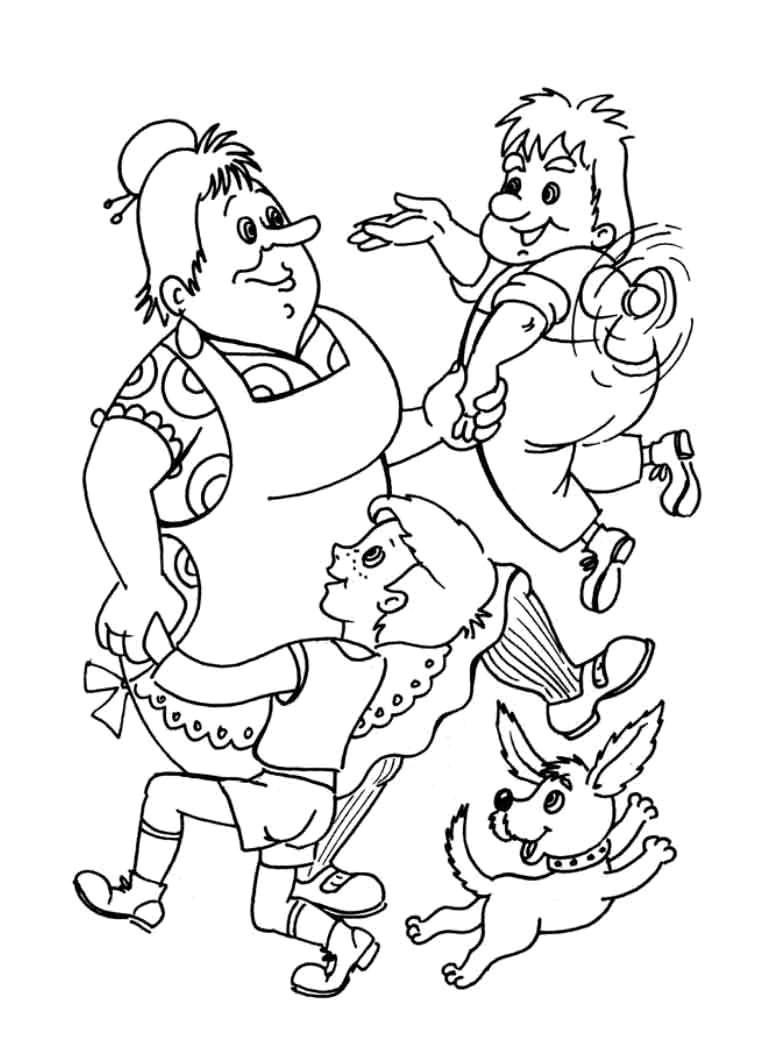 малыш и Карлсон раскраска 4