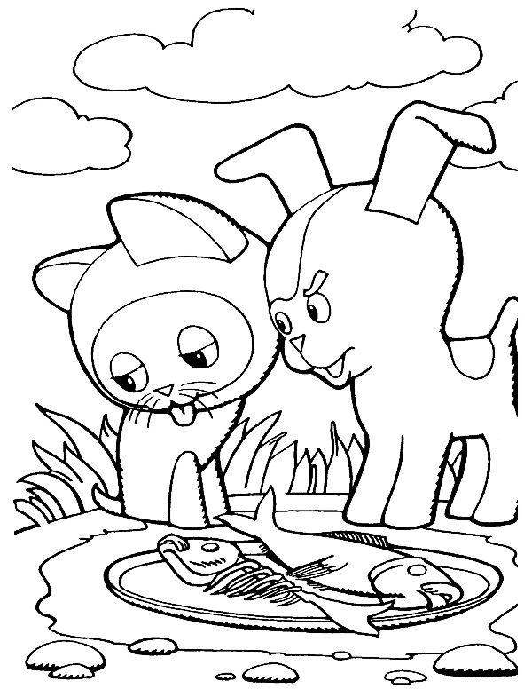 Раскраска котёнок Гав