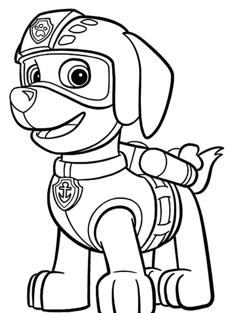раскраска щенок Зума