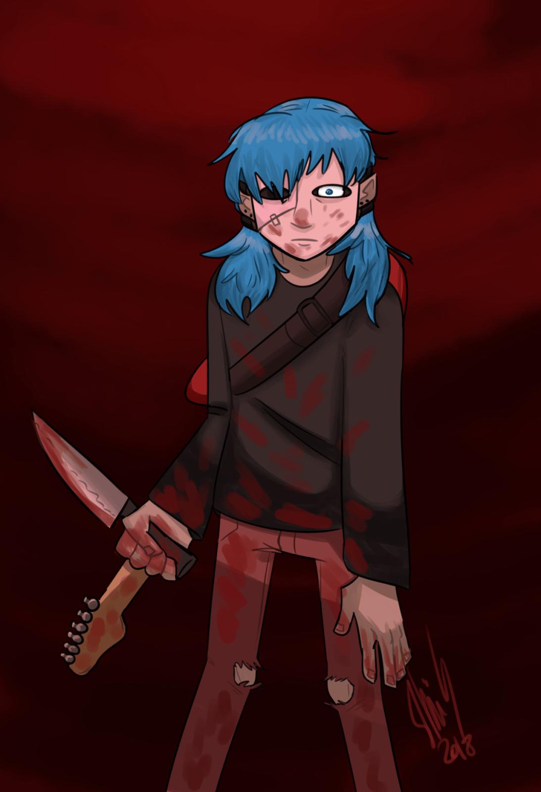 Салли с ножом и гитарой