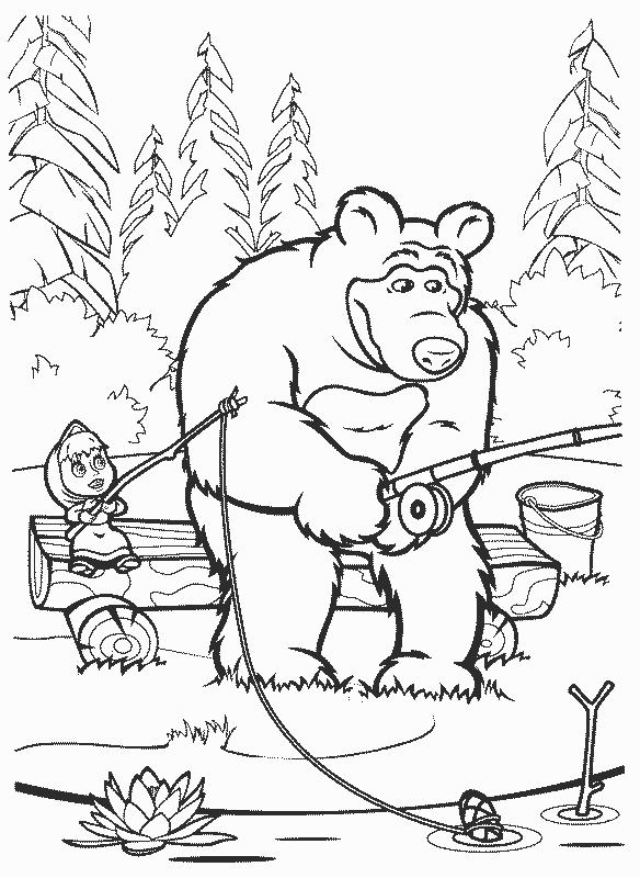 раскраска Маша и медведь 7