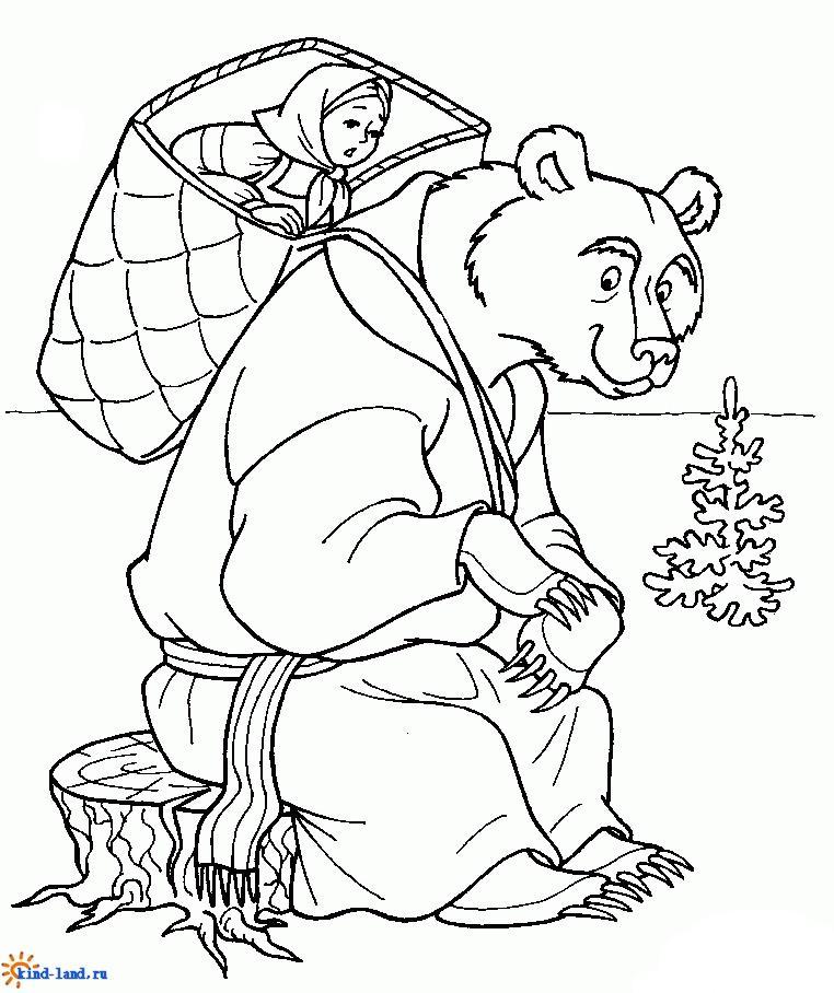 раскраска Маша и медведь 25