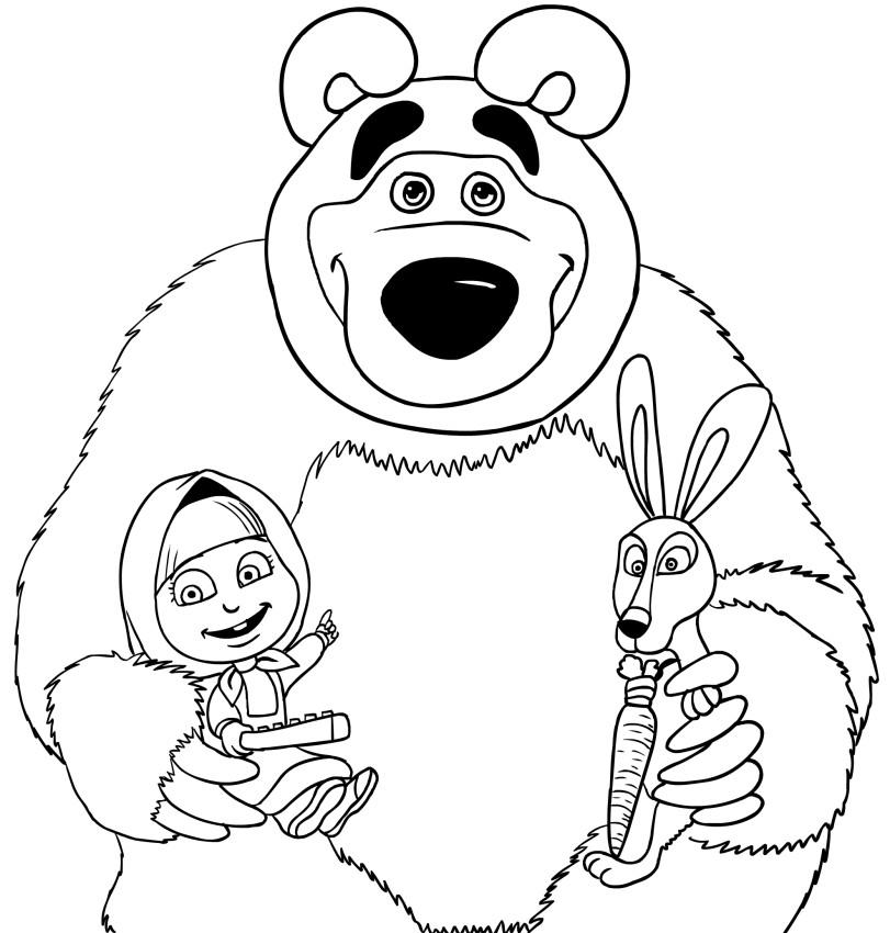Раскраска Маша и медведь 30