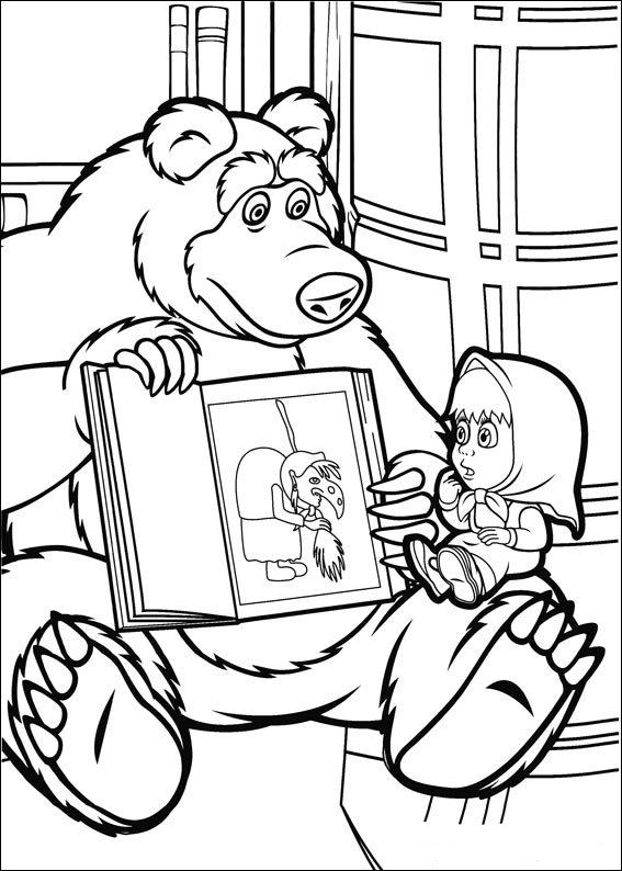 Раскраска Маша и медведь 3