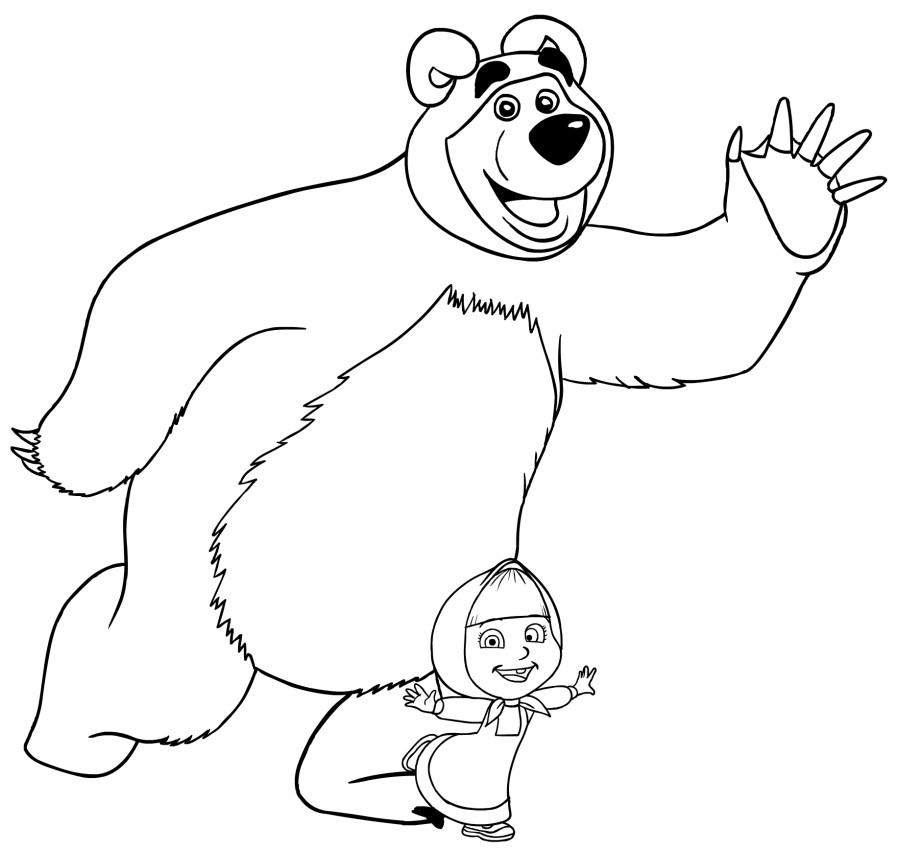 Раскраска Маша м медведь 2