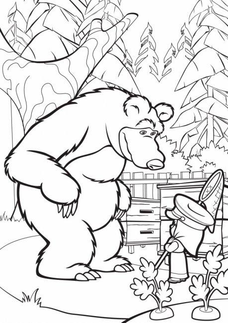 Раскраска медведь 10