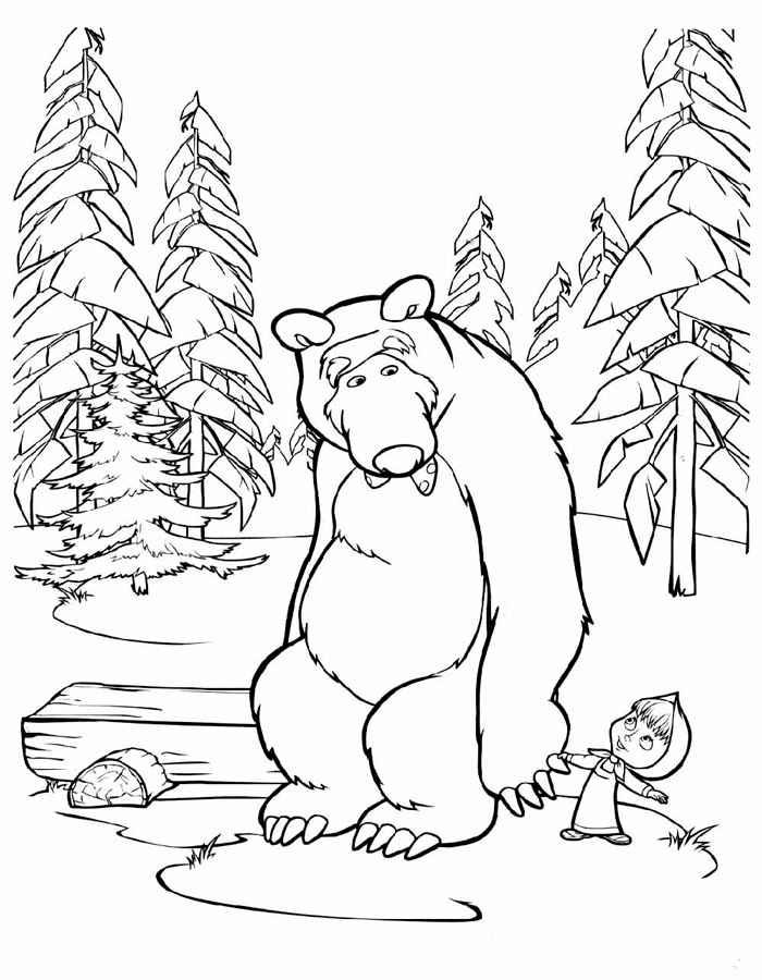 Раскраска Маша и медведь 29