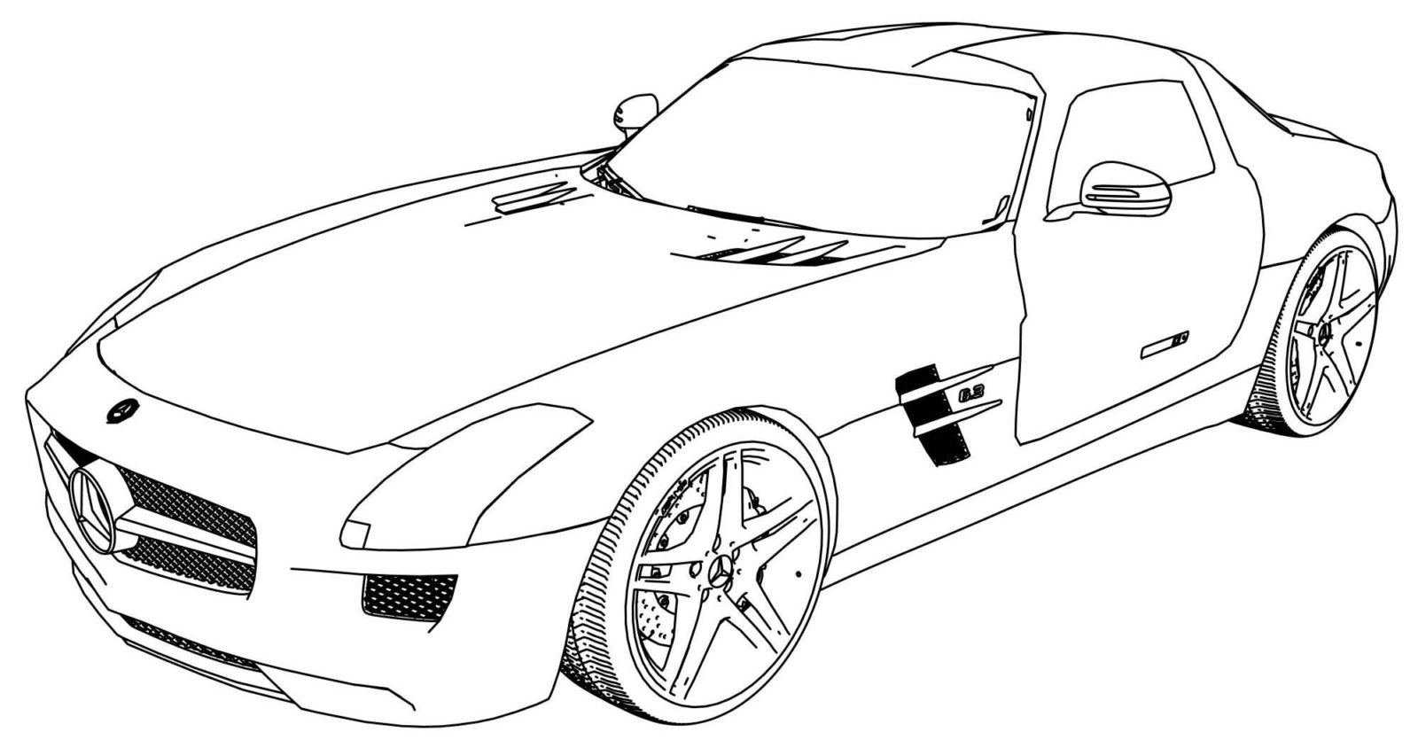 Раскраска гоночная машина Мерседес
