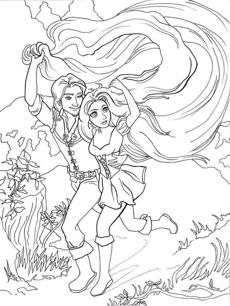 Раскраска Рапунцель и Юджин 3