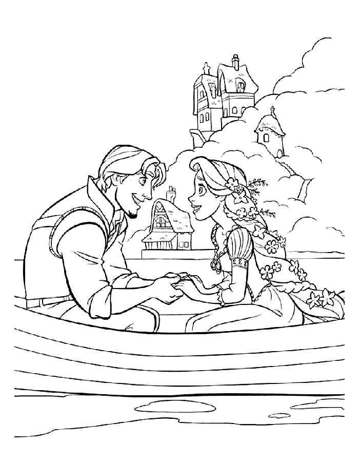 Раскраска Рапунцель и Юджин