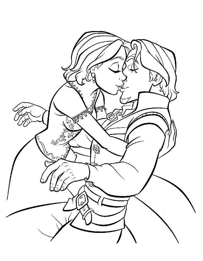 Рапунцель и Юджин целуются