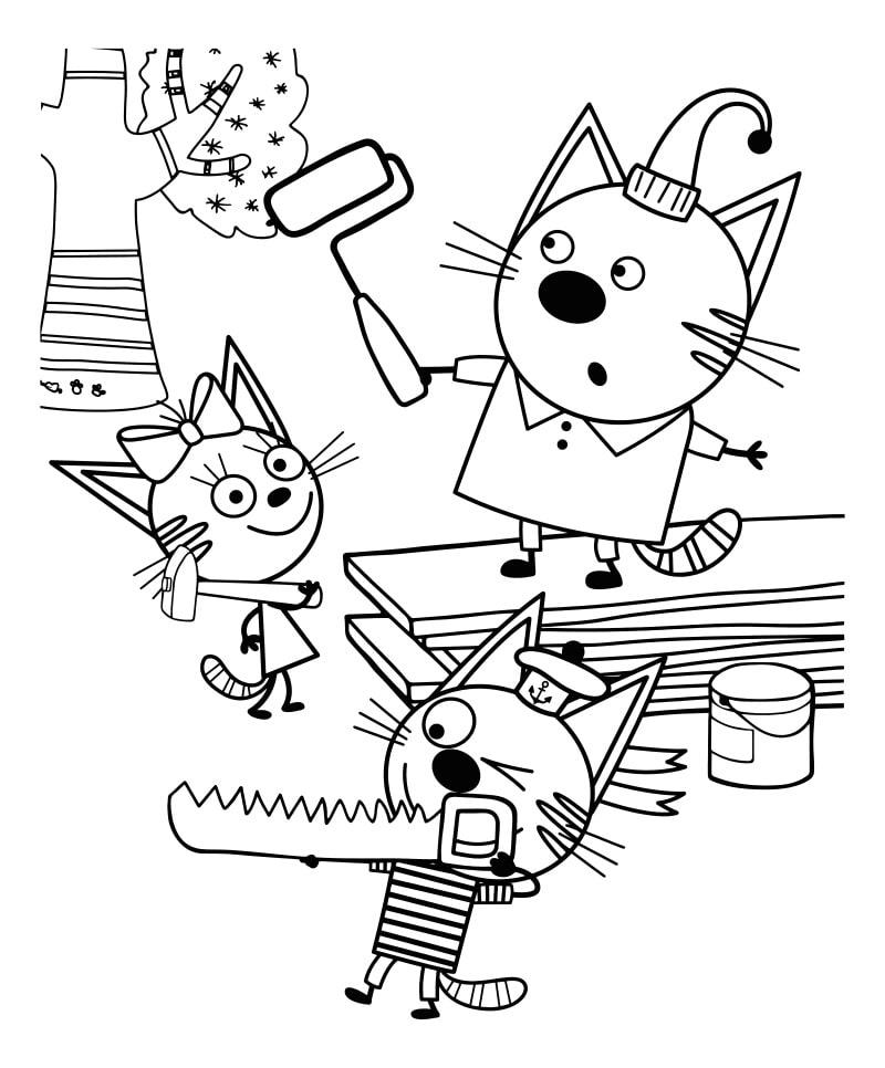 Раскраска три кота 7