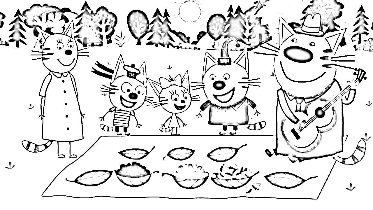 Раскраска коты 111