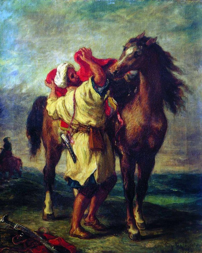 Марокканец, седлающий коня Делакруа