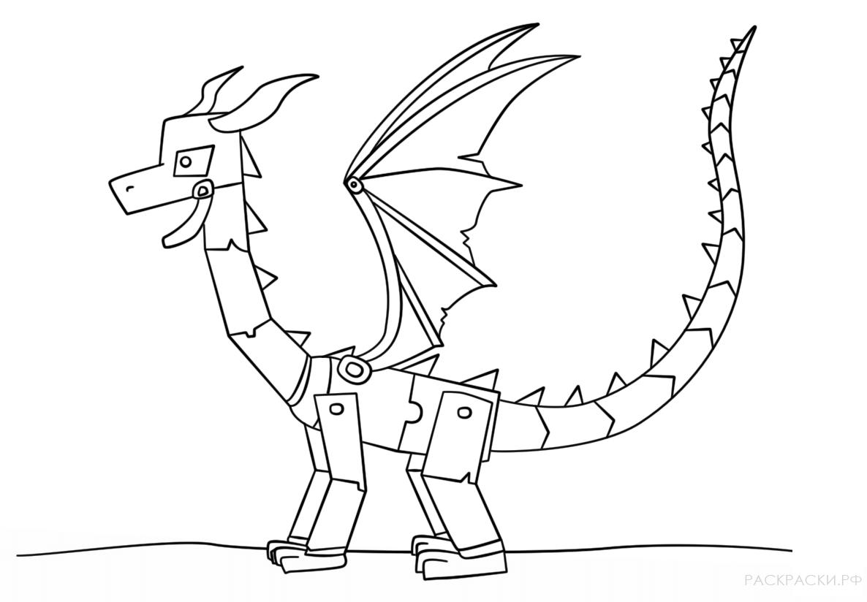 Раскраска Майнкрафт дракон