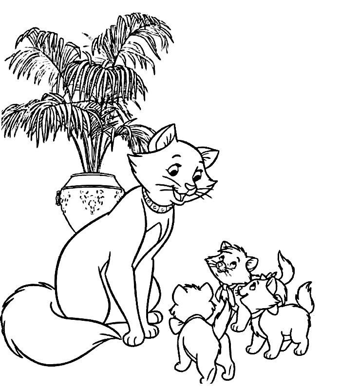 раскраска кошка с котятами 52