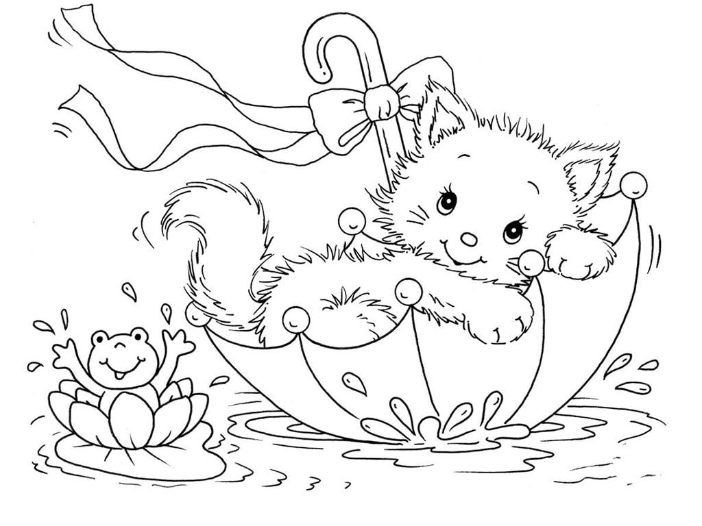 Раскраска котёнок 73