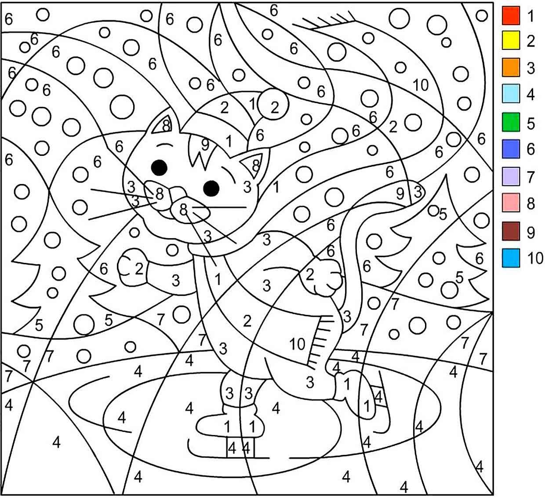 раскраска кошка по номерам 7