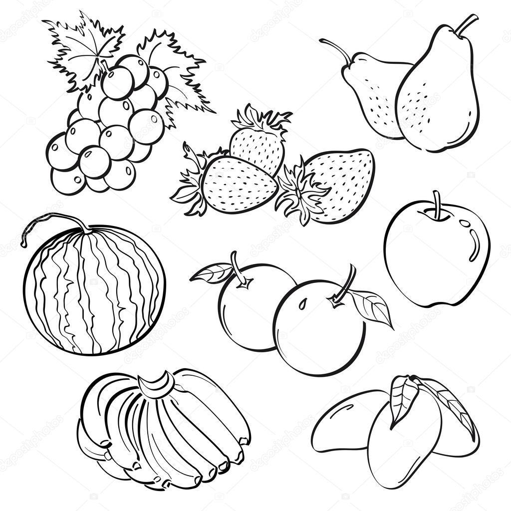 Раскраска фрукты 19
