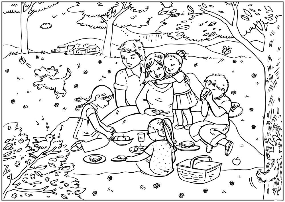 пикник раскраска