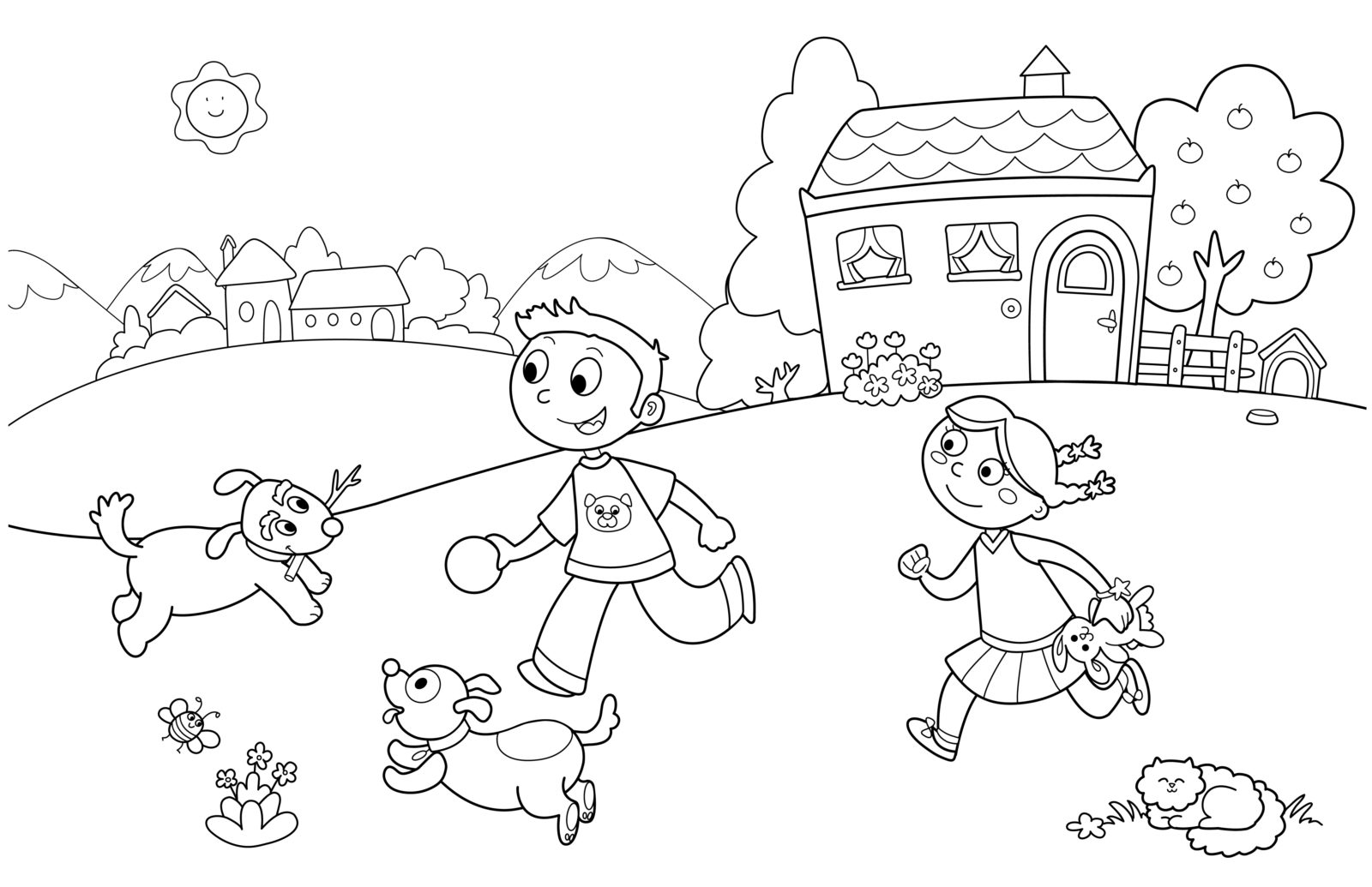 Раскраска дети во дворе летом бегают