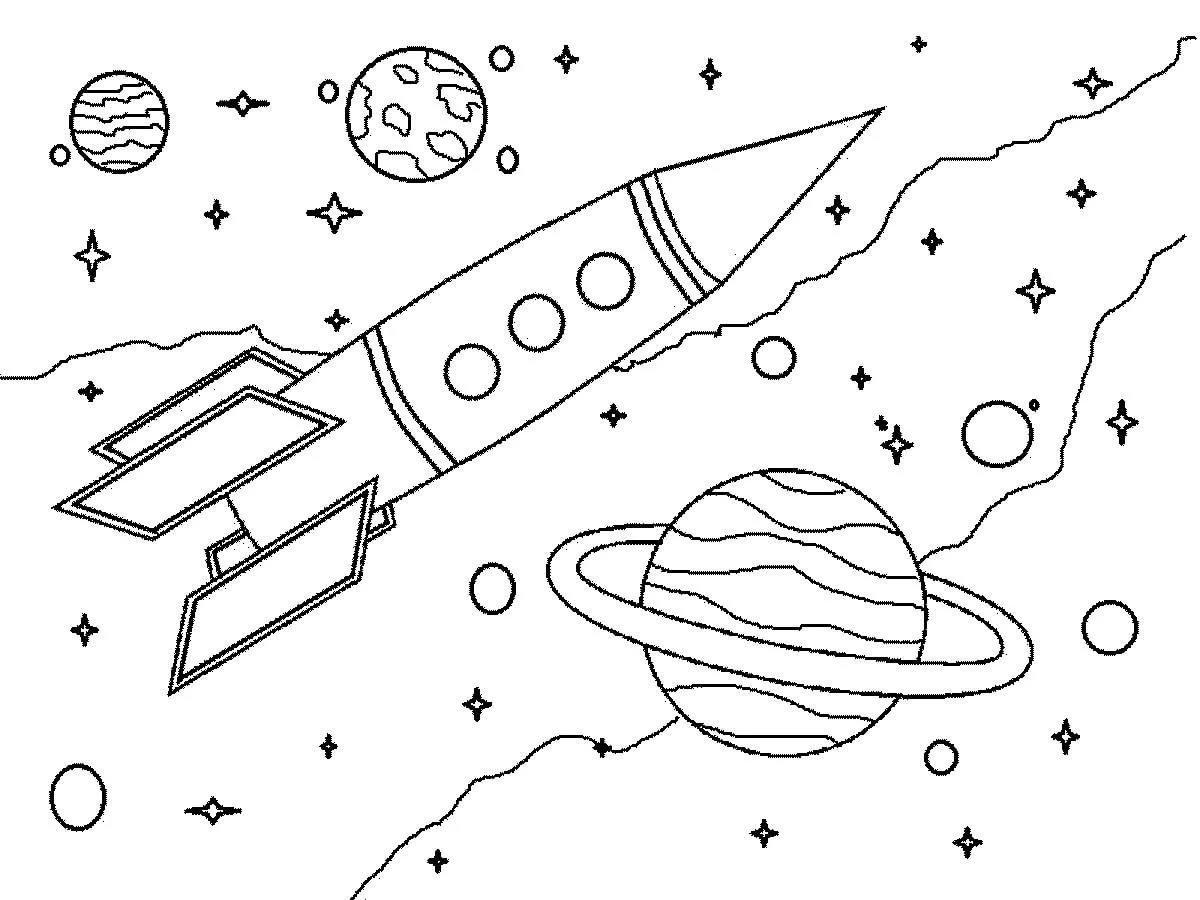 Раскраска ракета 44