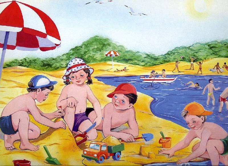 дети на пляже фото