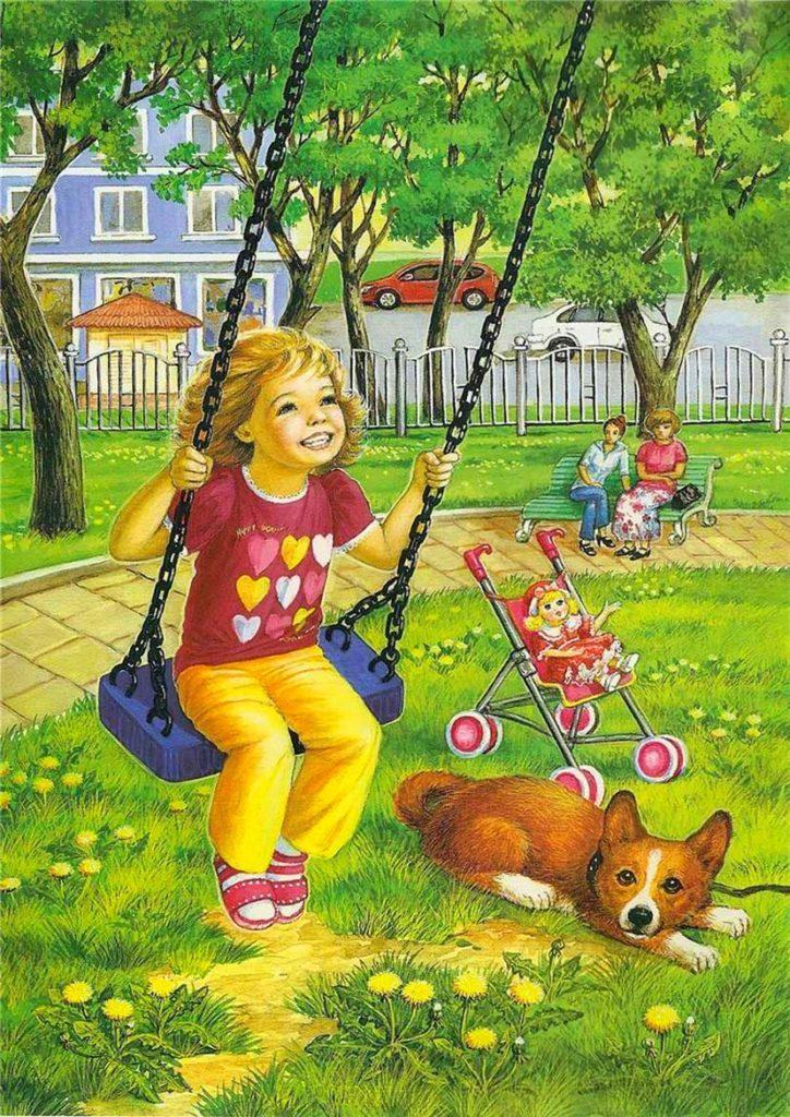 девочка на качелях рисунок