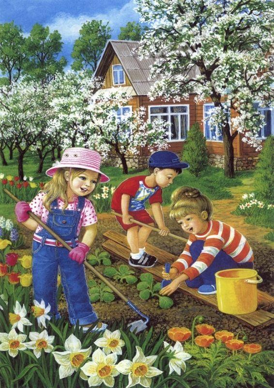 Дети на огороде летом