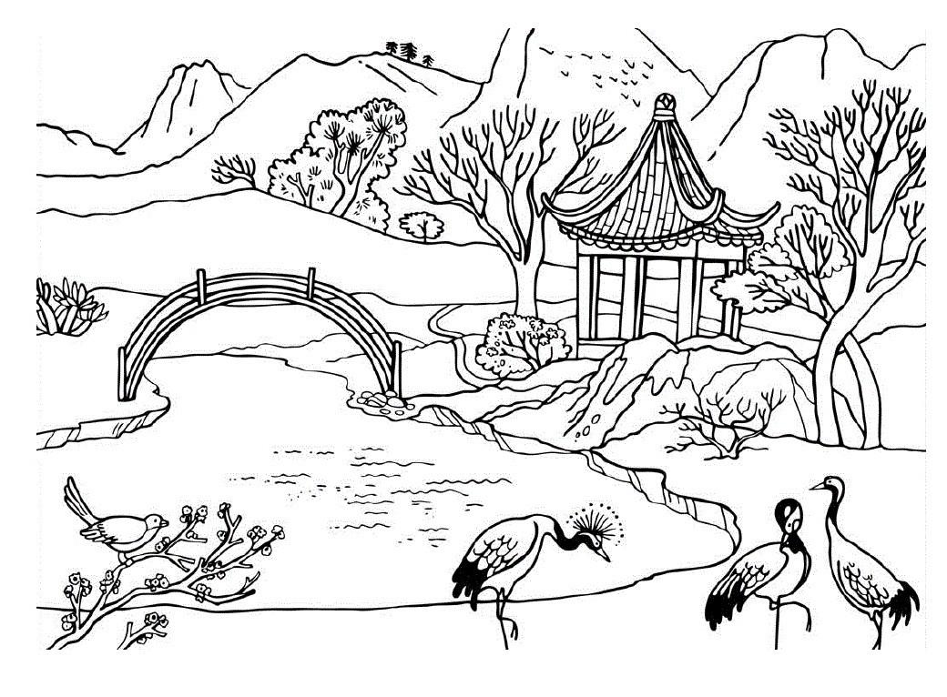 Раскраска озеро с птицами