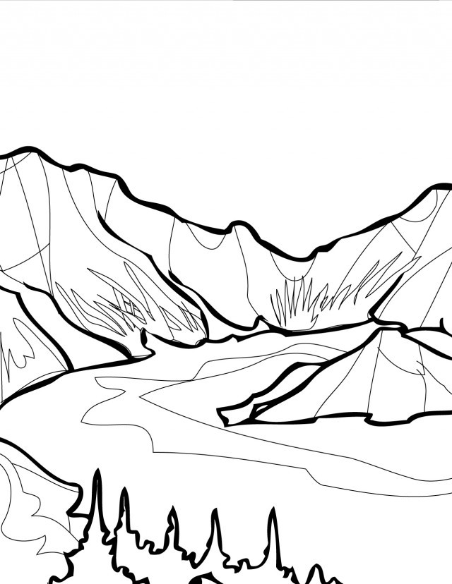 Раскраска горы с рекой