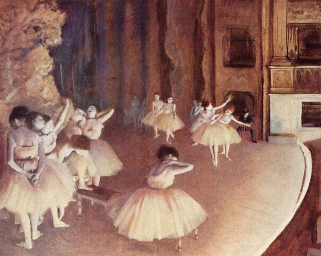 Репетиция балета на сцене Дега