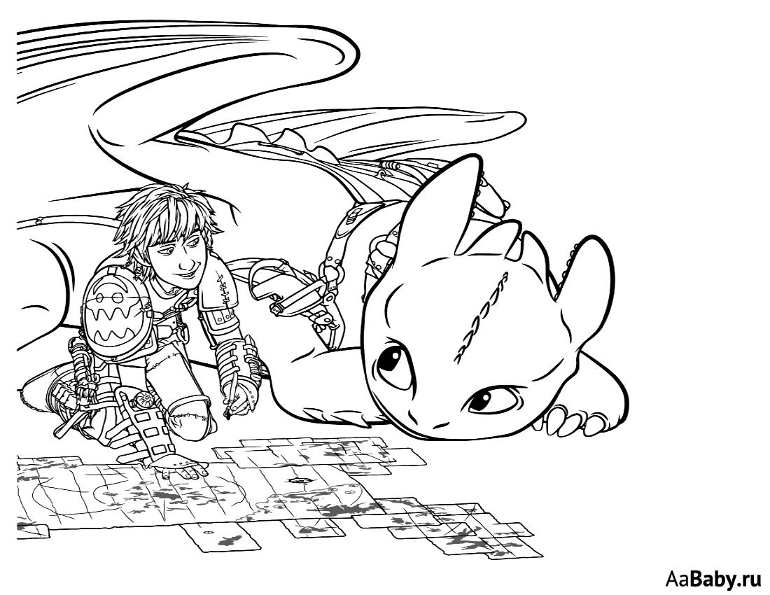 Раскраска Беззубик и Иккинг 4
