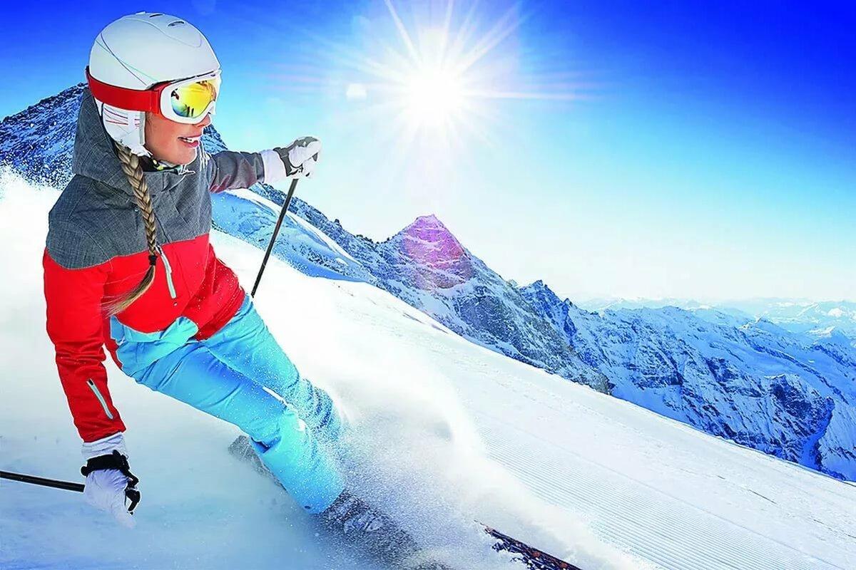 девушка горнолыжник