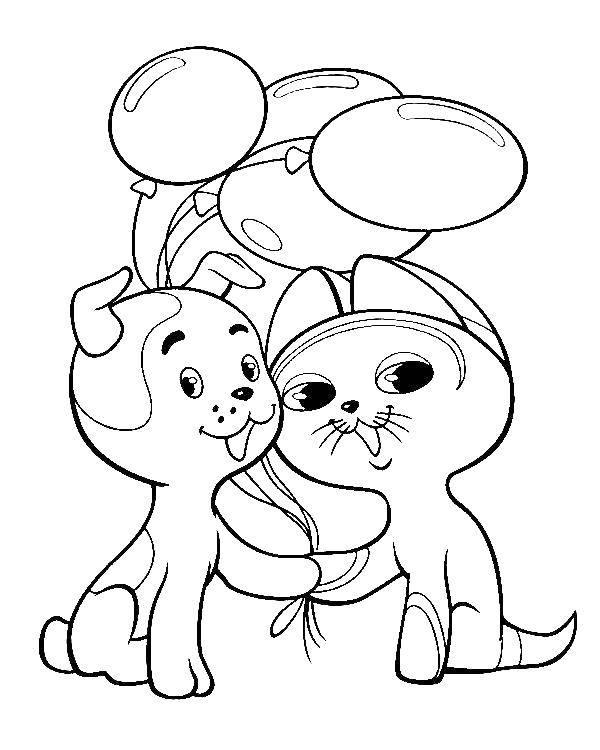 Раскраска кошка и собака 51