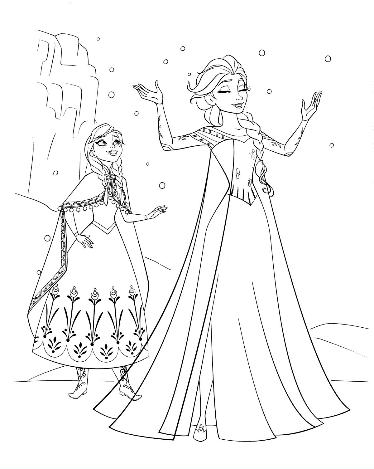 раскраска Анна и Эльза