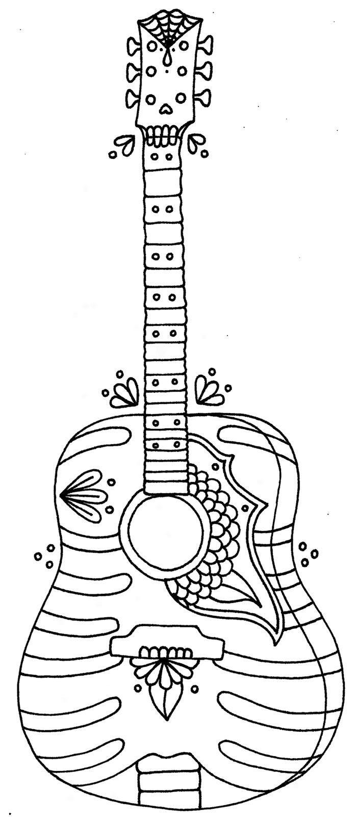 раскраска гитара 2