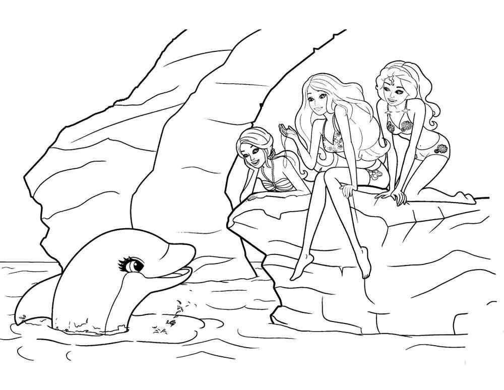 Раскраска дельфин 12
