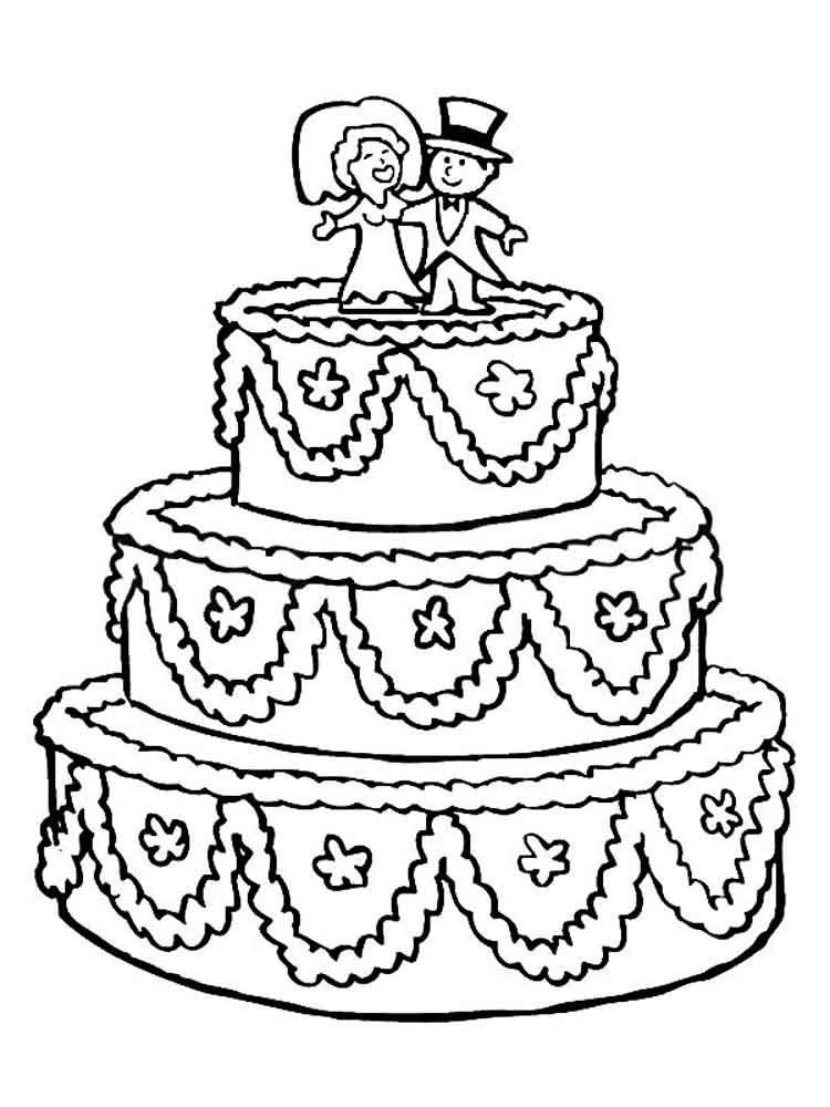 раскраска торт свадебный 7