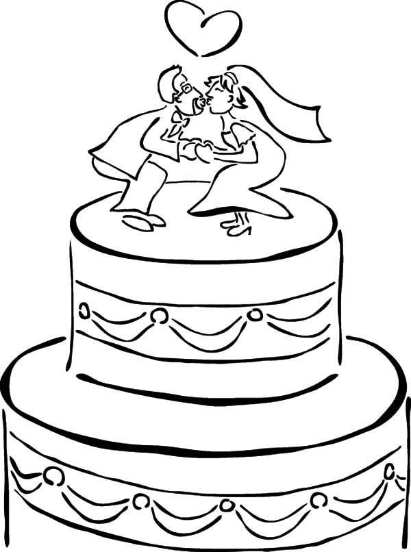 раскраска торт свадебный