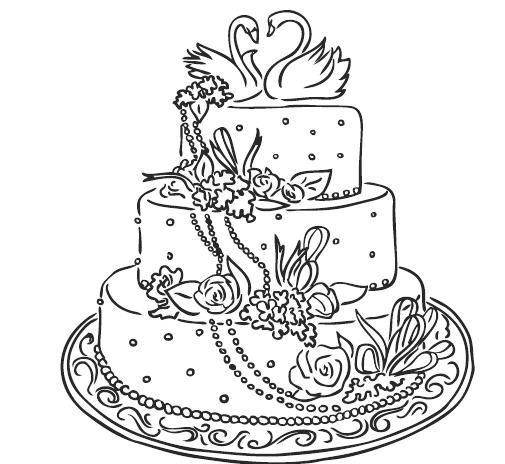 раскраска торт свадебный 2