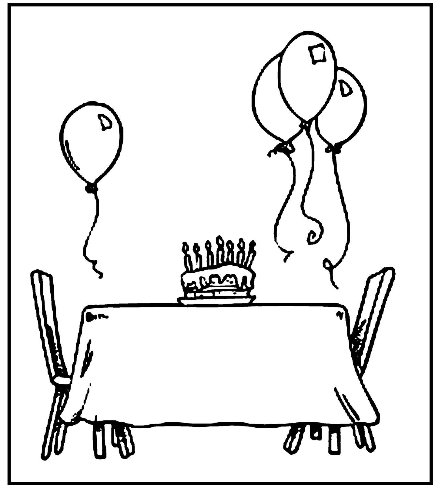 Раскраска торт на столе