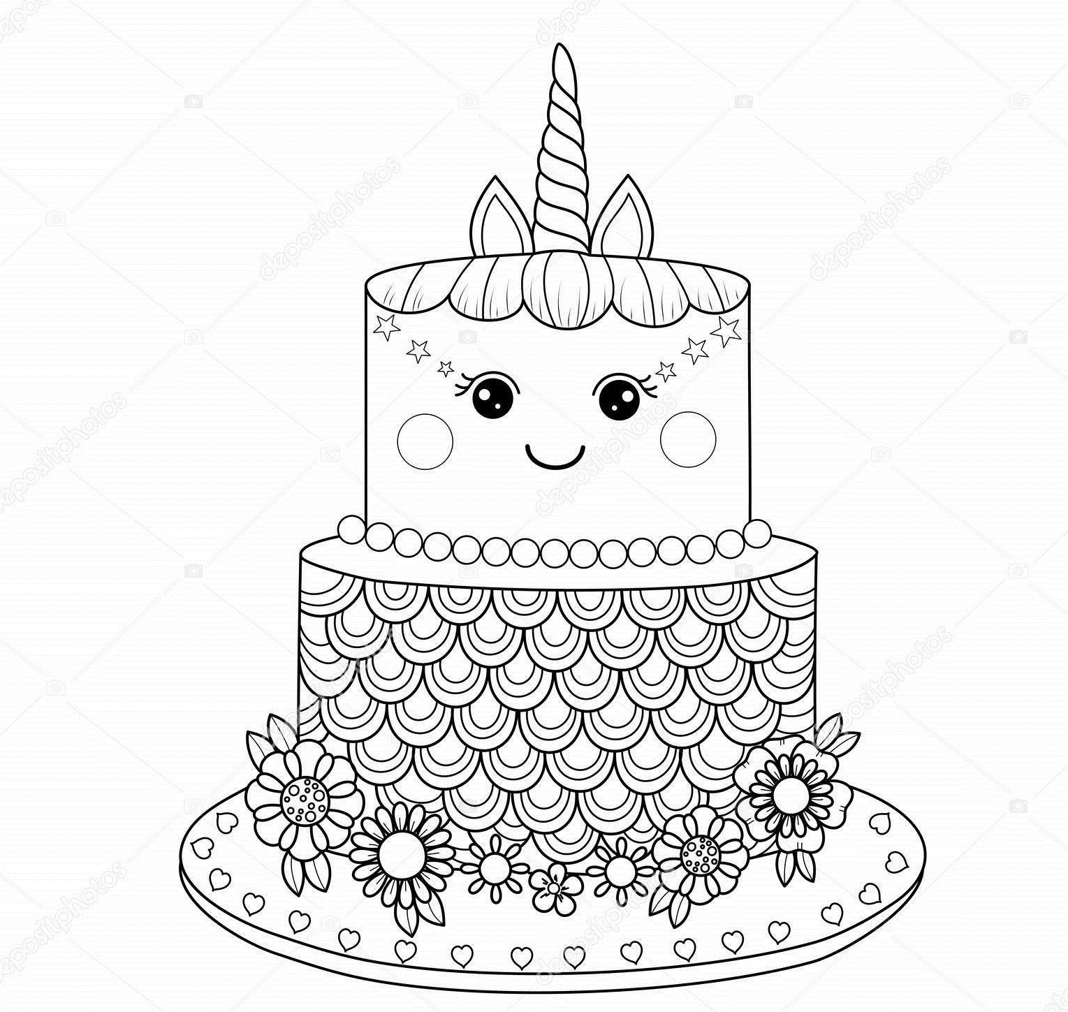 раскраска торт-единорог 100
