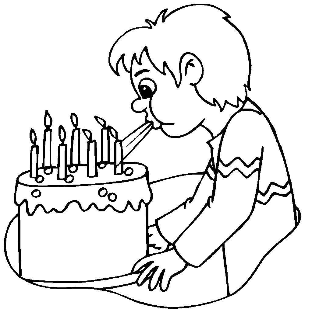 раскраска торт со свечами 3