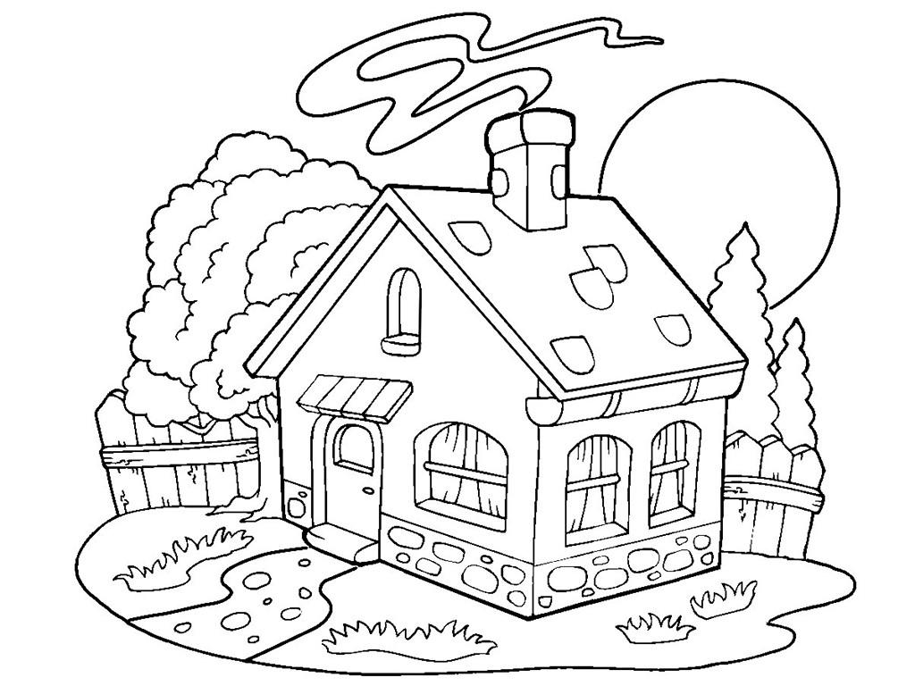 раскраска дом деревенский