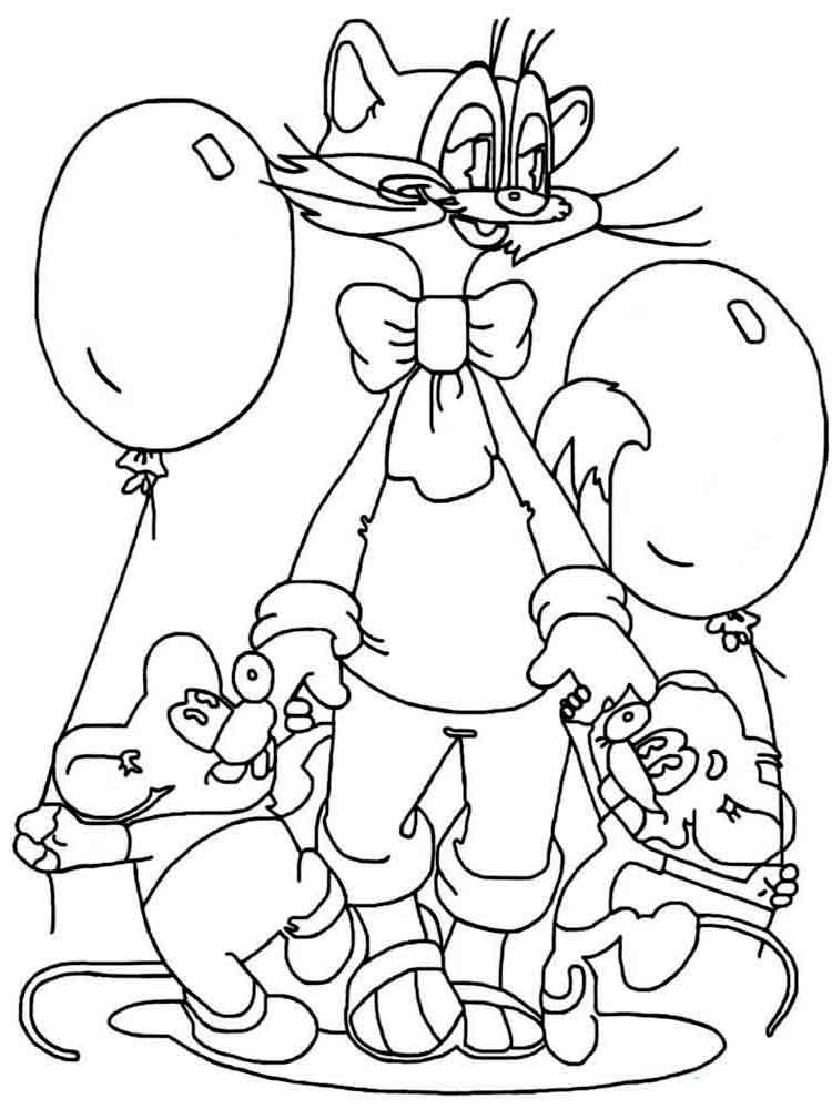 Раскраска кот Леопольд 3