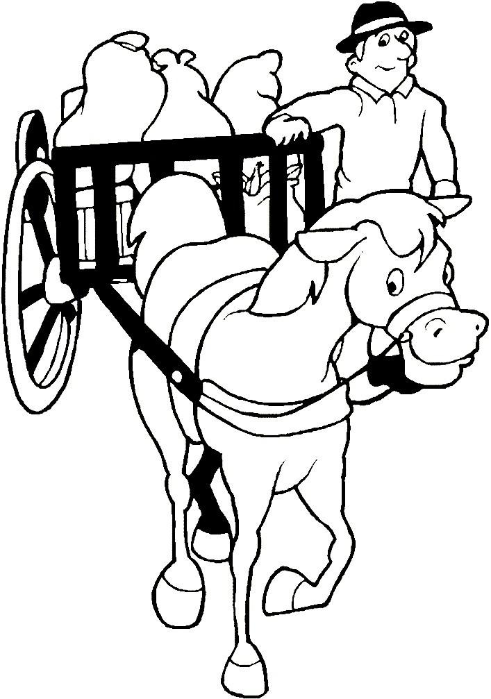 лошадь в телеге фото