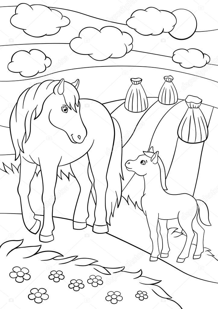 Раскраска лошадь с жеребёнком 8